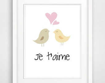 je taime quote, valentines day card, i love you card, valentines printable, valentine print, french quote