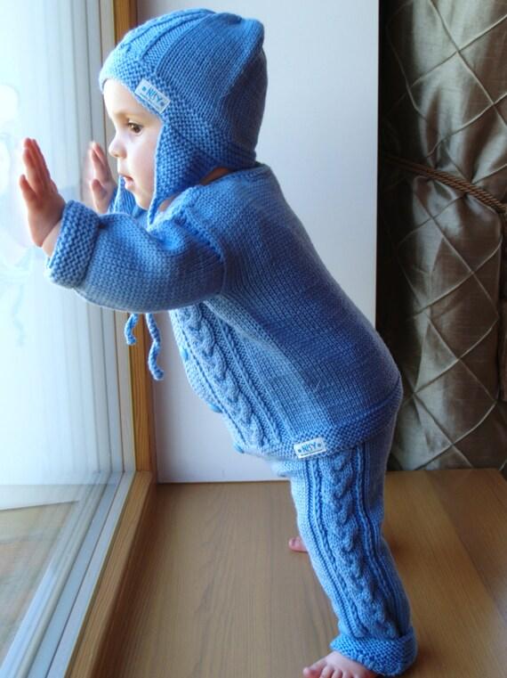 hand stricken baby kleinkind jungen pullover set. Black Bedroom Furniture Sets. Home Design Ideas