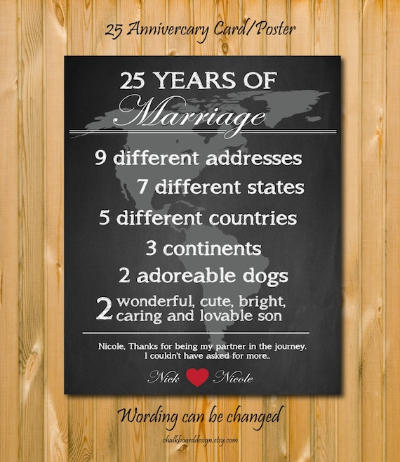 Wedding Gifts 25 Years : Items similar to 25 Anniversary gift, 25 year anniversary card/poster ...