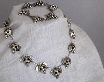 Vintage Signed Taxco Grape Demi Parure, Pre-1948 Sterling Silver Necklace Bracelet Set, 144