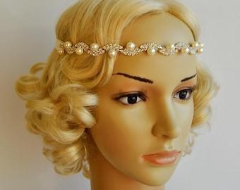 Rhinestone Pearls Headband, Wedding Crystal  Bridal bridesmaid Headband, Wedding Headpiece, Halo Bridal Headpiece, 1920s Flapper headband
