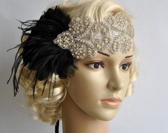 Rhinestone flapper Gatsby Headband, Wedding Headband, Crystal Headband, Wedding Headpiece, Halo Bridal Headpiece, 1920s Flapper headband