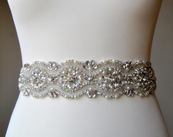 Bridal Sash, Bridal belt, Wedding Sash, Wedding Belt, Bridesmaids Belt Sash, Rhinestone Wedding Gown Sash Belt, All around Belt-CHLOE