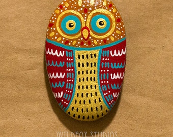 Painted Owl Stone || Painted Owl Rock || Gold, Red, Teal, White