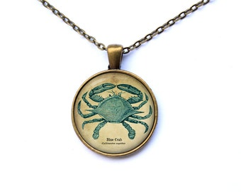 Blue crab pendant Nautical jewelry Art necklace CWAO17