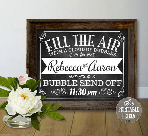 Bubble Send Off Customized Printable Wedding Sign // Chalkboard ...
