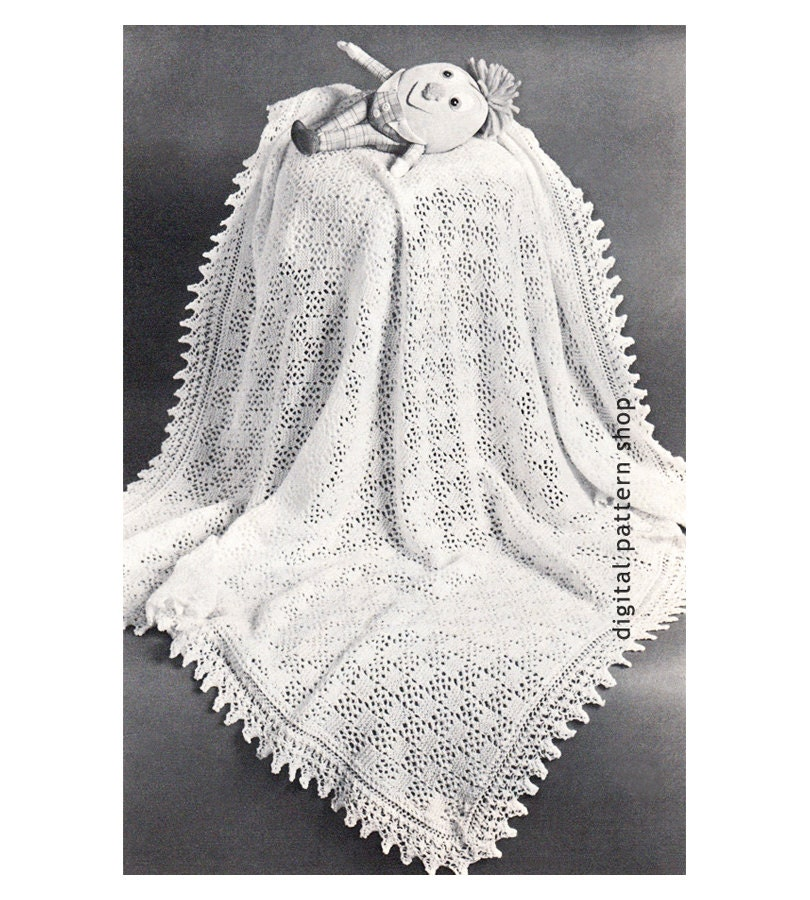 Baby Shawl Patterns To Knit : Vintage Baby Blanket Knitting Pattern Knit by ...