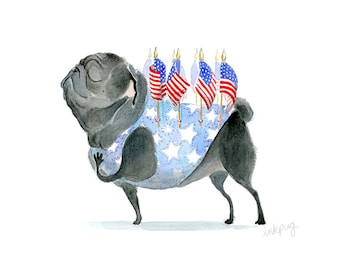 Patriot Pug Art Print - 5x7, 8x10 Patriotic Decor with Black Pug, American Flag Art, Americana Patriotic Art, Black Pug Art Print by Inkpug