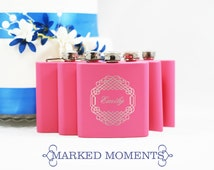 Personalized Pink Flask Engraved with Single Name Great for Groomsmen Best Man 21st Birthday Bridesmaids Father's Day CELTIC Design