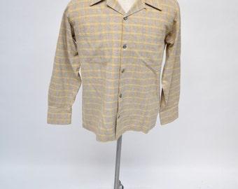 1950s vintage shirt rockabilly wool  50s vlv plaid size medium bspoke custom