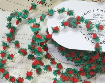 Charming French TINY STRAWBERRY Wired Ribbon rim Fuzzy Cotton Chenille Yarn Vintage Doll Millinery Ladies Hat Craft DIY Miniature Dollhouse