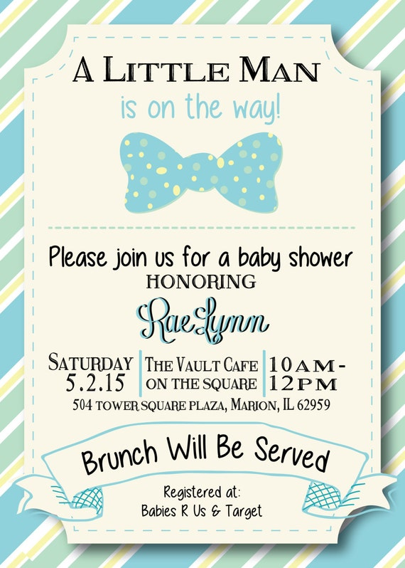 A little Man Bow Tie Boy Baby Shower invitation