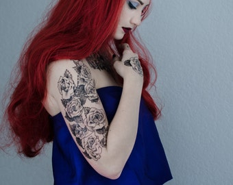 Rose Temporary Tattoo Sleeve Set