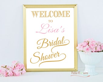 Gold Welcome Bridal Shower Sign - Bridal Shower Decoration - Personalize Name & Custom Color