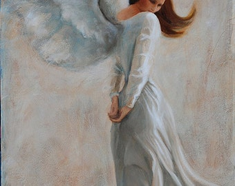 Original Oil Painting of an Angel titled Angel I