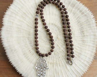 Hamsa Necklace, Brown Long Hamsa Necklace, Long beaded necklace, Ottoman Jewelry