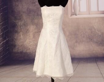 Short Lace Wedding Dress,Simple Strapless Wedding Dresses