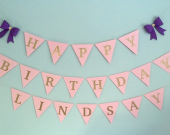 Custom Bow Birthday Party Banner for girls - pink and gold