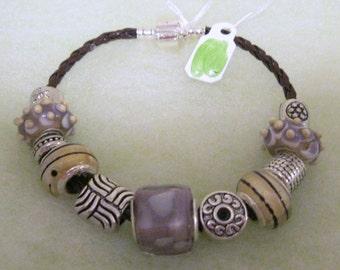 421 - CLEARANCE - Lavender & Beige Beaded Bracelet