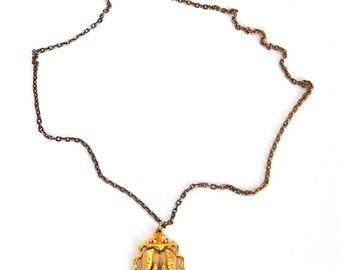 Vintage gold scarab necklace