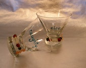 Stemless Martini. Hand painted. Cocktail. Rocks. Cosmopolitan glasses. Naughty. Nice. ~Talkers~ set of 2