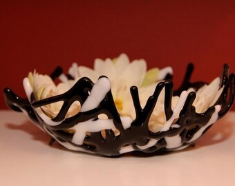 Black and White Fused Glass Coral Bowl