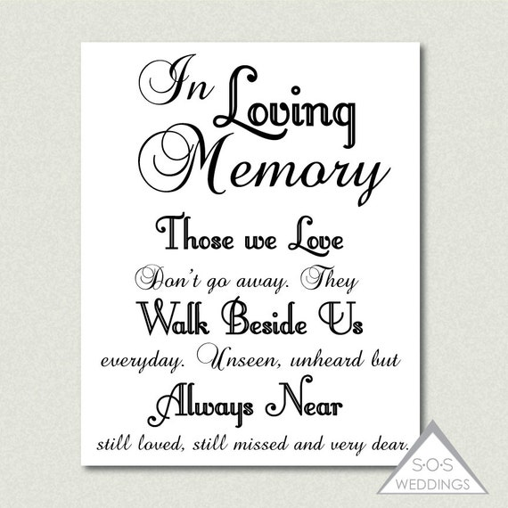in loving memory wedding sign printable pdf jpeg instant, Powerpoint templates