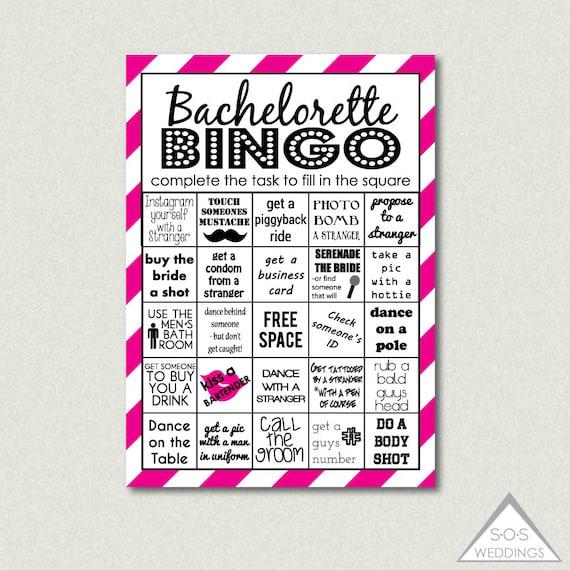 Hot Pink Bachelorette Bingo Bachelorette Bingo by SOSWeddings