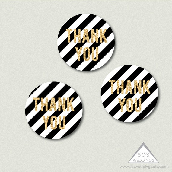 Printable Wedding Favor Tags, Black and White Wedding, Gold Glitter ...
