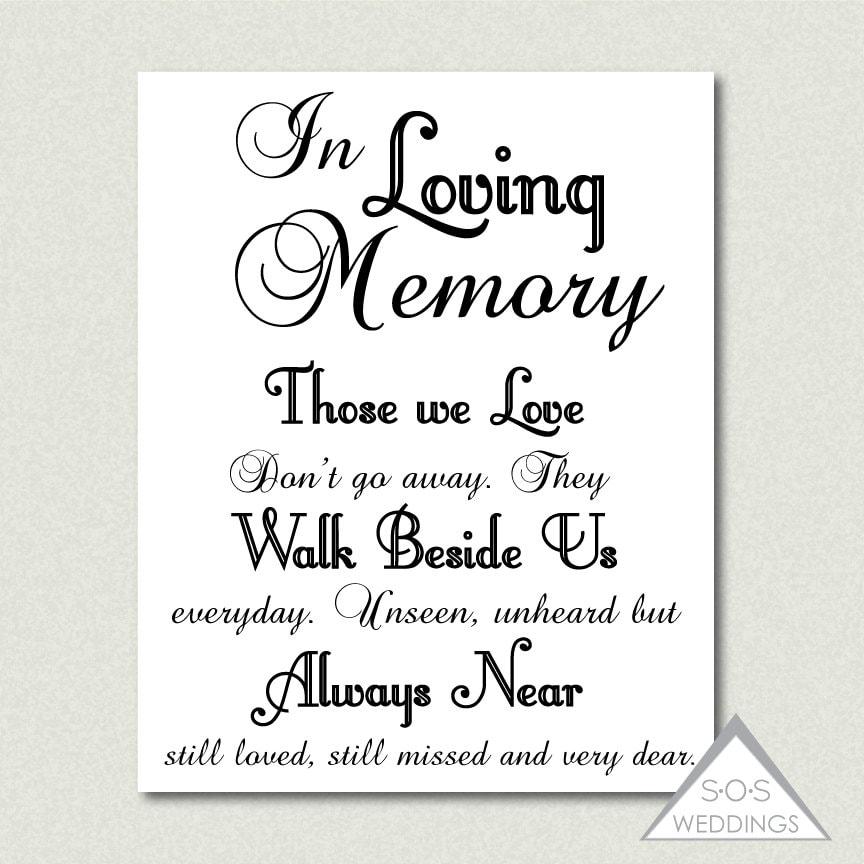 In loving memory wedding sign printable pdf jpeg instant for In loving memory free printable