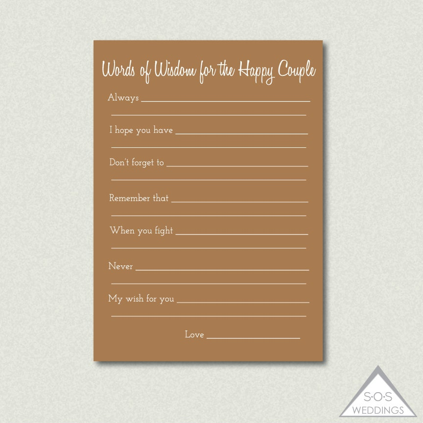 Printable Well Wishes Advice For The Couple Well By SOSWeddings