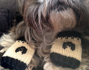 Monogram Dog or Cat Leg Warmers - Custom-knit for your pet with choice of letter and colors - you provide measurements for a perfect fit