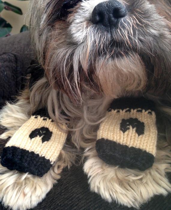 Dog Leg Warmers Knitting Pattern : Monogram Dog or Cat Leg Warmers Custom-knit for your pet