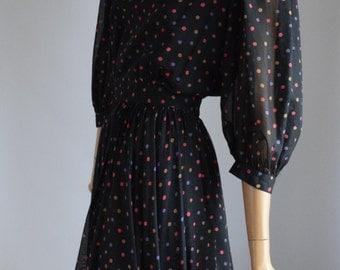 JAEGER vintage black multi colour dotty cotton chiffon full skirt midi dress