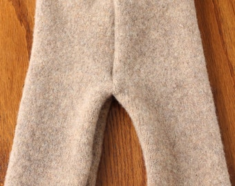 Upcycled Wool Longies, 3-6 months, Beige and Ivory
