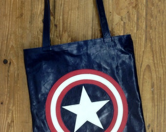 "Sale!!! Designer Leather bag ""CAPTAIN AMERICA BAG"" handmade Handbag Captain America Shield Avengers tote bag Handmade by Limor Galili"