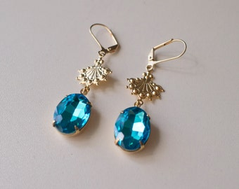 18th Century Reproduction Aqua Blue and Gold Rhinestone Drop Earrings.  Rococo, Colonial, Georgian, Regency, 19th Century, Historical.