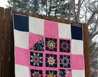 Pink and Navy Eight Point Star Quilt, Wall Hanging Quilt, Lap Quilt