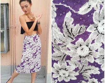 1980 Vintage Skirt/ Newspaper Mosaic Skirt/ Small Skirt/ Medium Skirt/ Floral Skirt/ Midi Skirt/ Pencil Skirt/ Artsy Quirky Skirt/ 80s Skirt