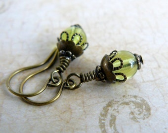 Small Olive Green Earrings, Lime Green Glass Bead Dangles, Tiny Vintage Style Romantic Bridesmaid Jewelry, Rustic Wedding Party Jewelry