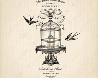 Instant Download Printable - French Bird Cage Advertising - Digital Fabric Transfer - Birdcage Paris - Iron On Shabby Chic Graphics Clip Art