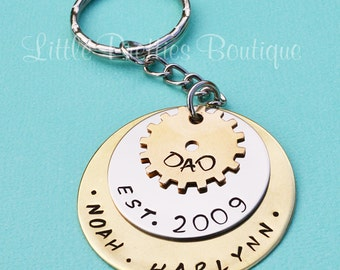 Sprocket Dad Key Chain, Father's Day gift, Dad Key Chain, Hand Stamped, Personalized, Gear Key Chain, Father's Day
