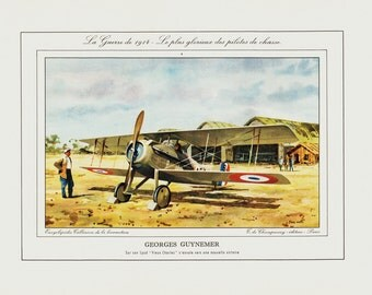 1961 Vintage airplane print. Red Biplane from 1908