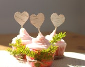 Cake Topper, Cupcake topper, Party Toppers, Toothpicks, Heart, Wedding cupcake pick topper, Birthday decor, Picks, Wooden picks, Food decor
