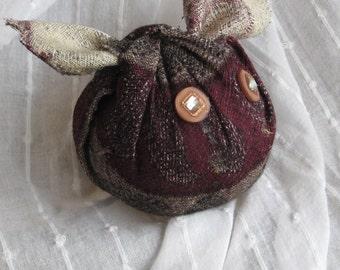 Pincushion , upcycled necktie , Wombat pincushion , upcycled fabric pincushion , handmade pincushion , OOAK pincushion, handmade gift