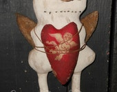 Angel Primitive Snowman doll large ornament holding heart Crows Roost Prims