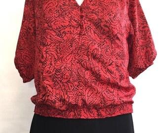 Vintage 1980's Silk Jacquard Blouse
