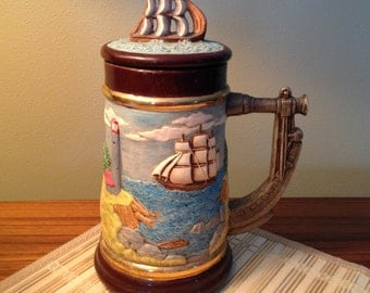 Vintage hand painted clipper ship stein from 1986