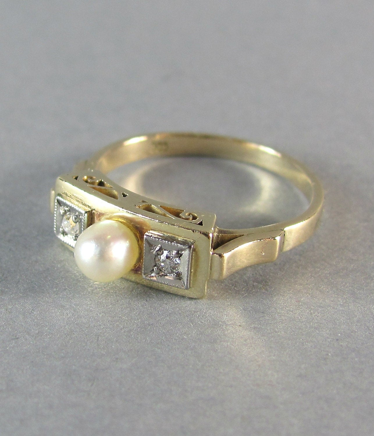 GENUINE pearl and diamond antique engagement ring trilogy