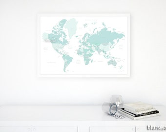 30x20 Printable World Map Countries Names Us States Canadian Provinces Australian